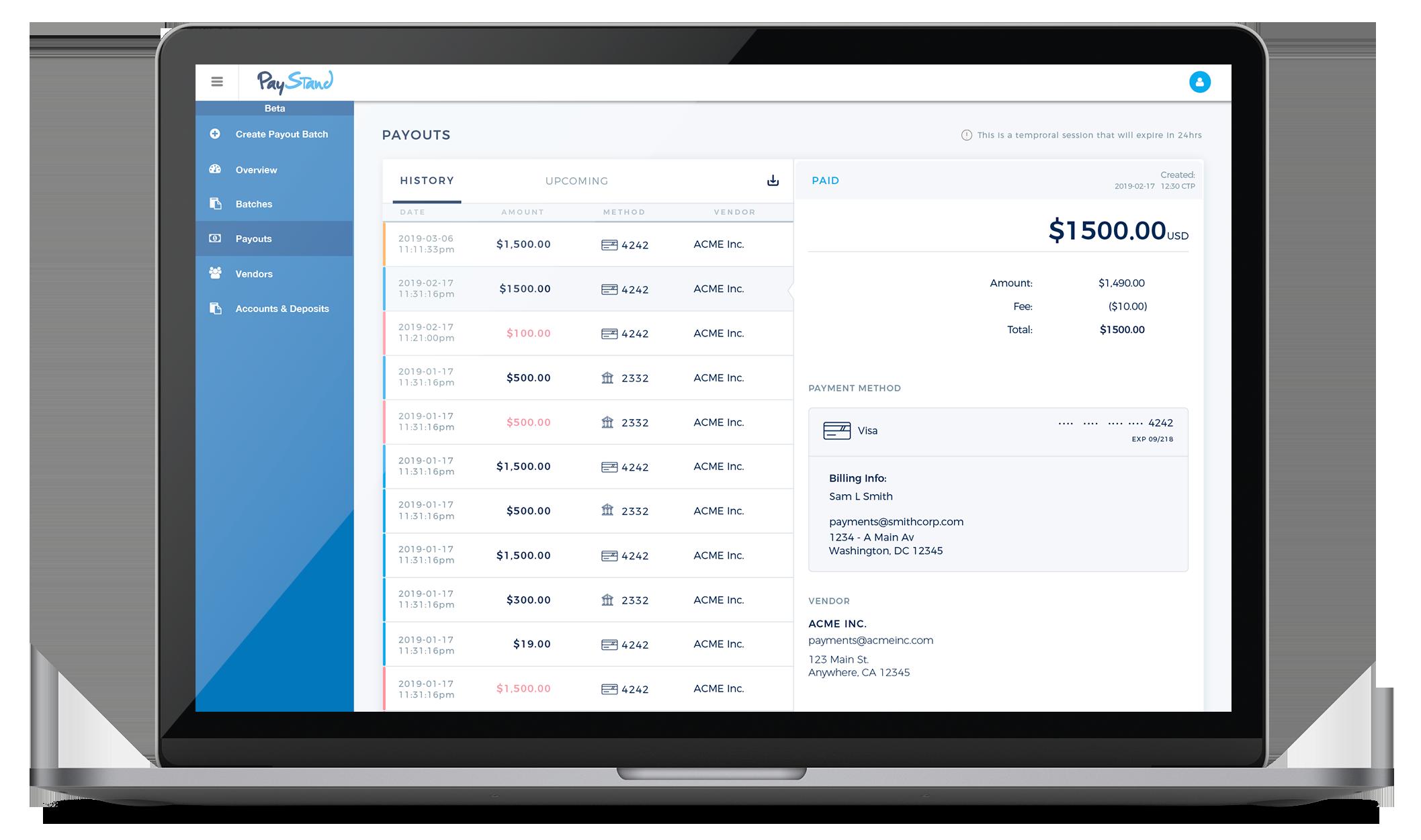 Payment Dashboard Macbook