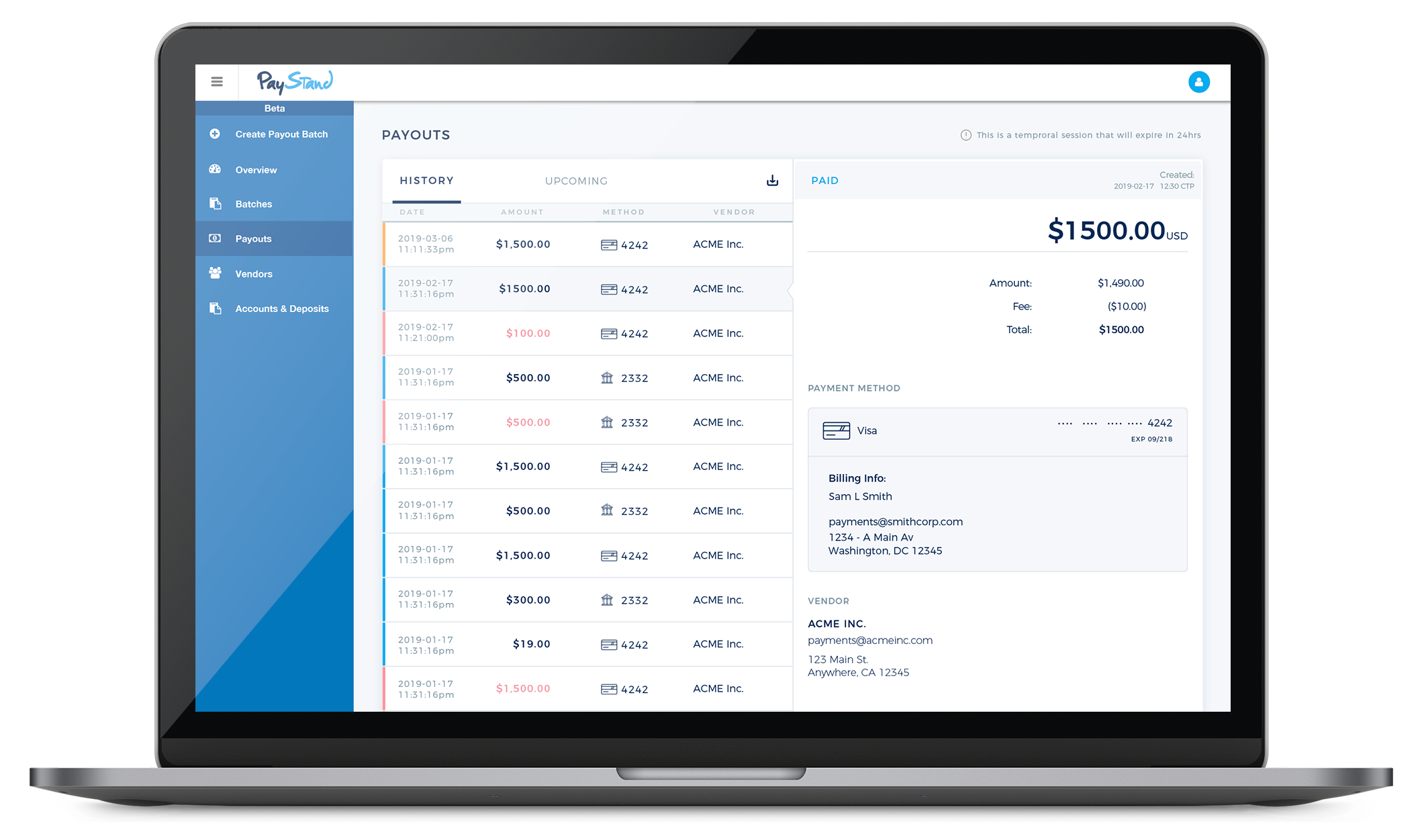 Payment Dashboard Macbook