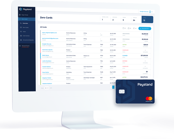Paystand Virtual Card - Dashboard