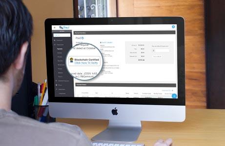 blockchain certified payment dashboard screen
