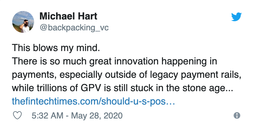 VC Michael Hart tweet about $12.5 in payment volume stuck in legacy rails like paper checks