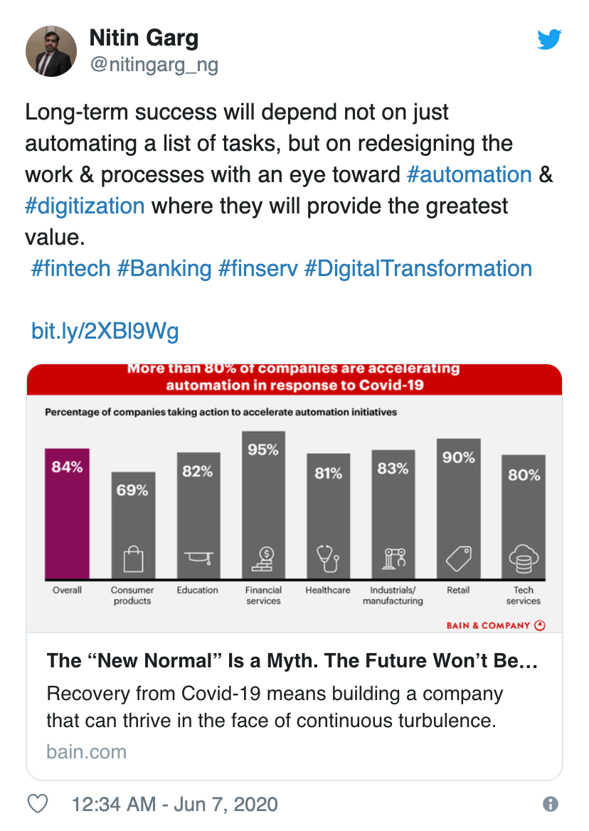 Nitin Garg shares Bain Insights piece on accelerating automation projects due to COVID-19
