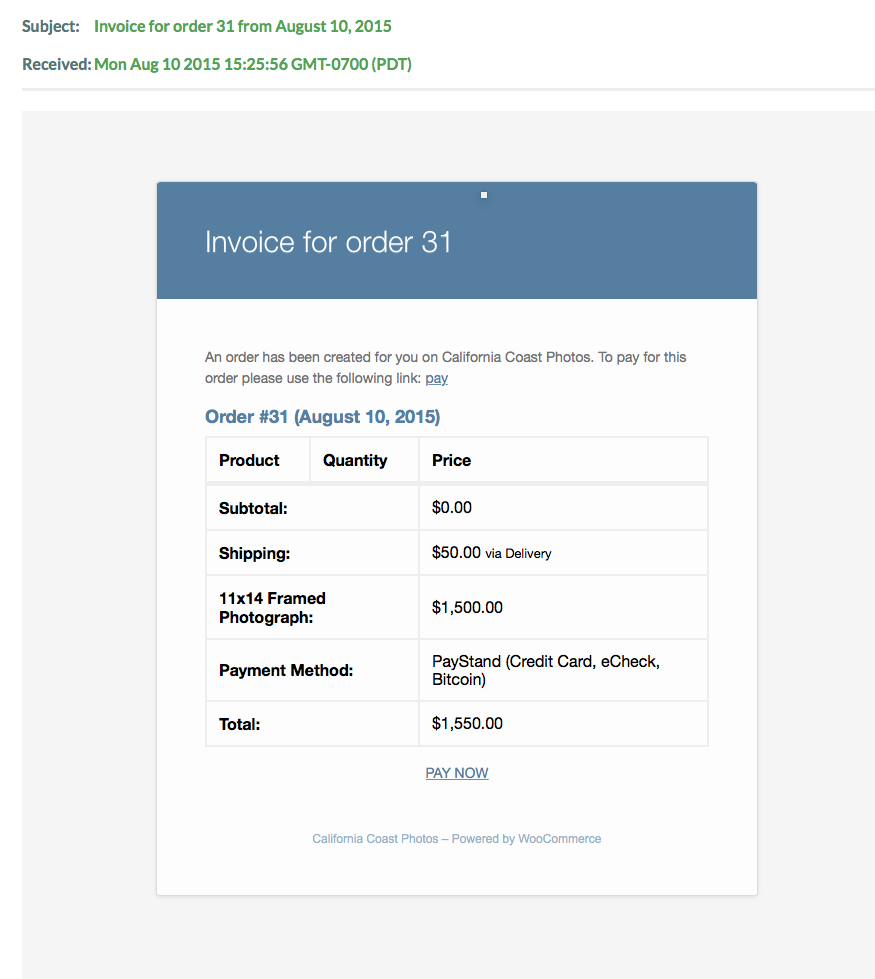 how to use woocommerce to email an invoice with a pay now link a