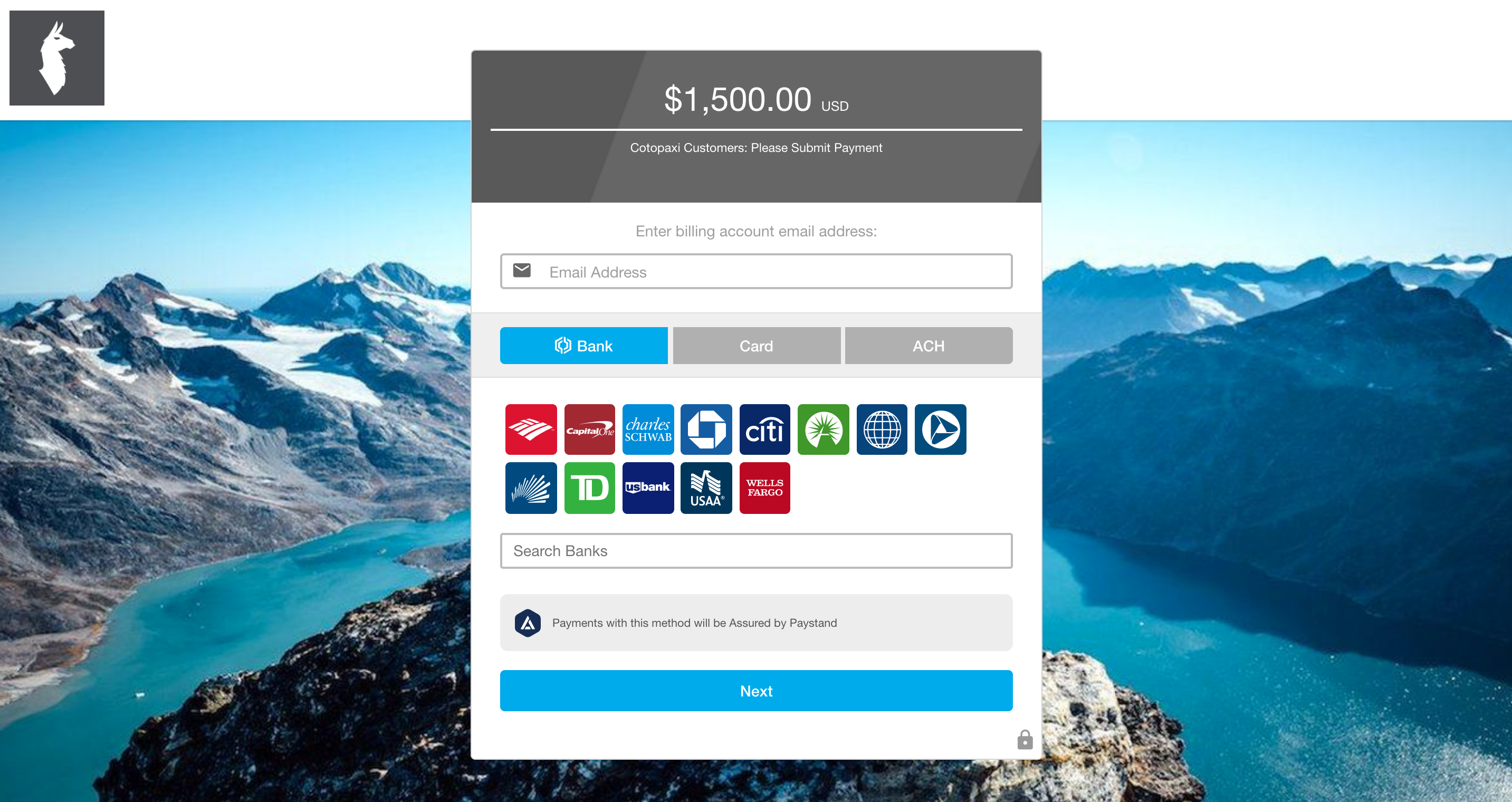 payment portal paystand cotopaxi background